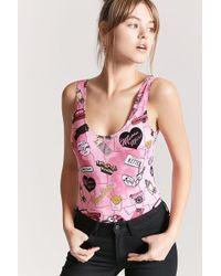 Forever 21 - Women's Meow Motel Graphic Bodysuit - Lyst