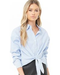 53bf332233156a Lyst - Forever 21 Striped Pocket Shirt in White
