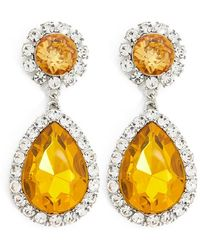 Forever 21 - Faux Gem & Rhinestone Drop Earrings , Silver/yellow - Lyst