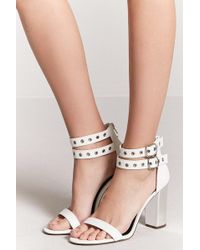 Forever 21 - Faux Leather Grommet-buckle Heels - Lyst