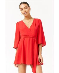 Forever 21 - Plunging Surplice Dress - Lyst