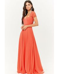 Forever 21 - Lace Sleeve Gown - Lyst