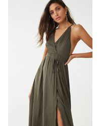 4a7223ea4b0 Forever 21 Belted Surplice Maxi Dress in Orange - Lyst