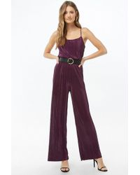 f8b74476567d Forever 21 Lace-Up Crepe Jumpsuit in Yellow - Lyst