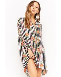 Forever 21 - Floral Striped Button-front Tunic - Lyst