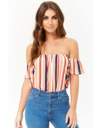 5e2a01d29c7a21 Lyst - Forever 21 Striped Off-the-shoulder Top in White