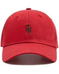 Forever 21 Men Rose Embroidered Dad Cap in Black for Men - Lyst 861cfd0cb78d