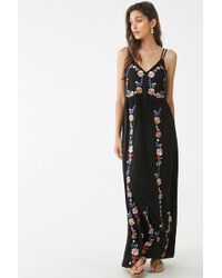 ac666ca82615 Forever 21 - Floral Embroidered Maxi Dress - Lyst
