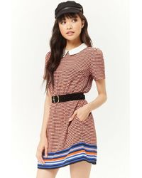 Forever 21 - Multicolor Houndstooth Striped-trim Dress - Lyst