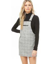 0d79e3e371795 Forever 21 - Glen Plaid Mini Overall Dress - Lyst