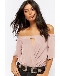 3858fec1bbf4d Lyst - Forever 21 Plus Size Off-the-shoulder Top in Pink