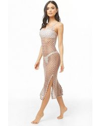 Forever 21 Sheer Metallic Swim Cover-up Dress , Taupe/silver