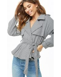 Forever 21 - Houndstooth Trench Coat - Lyst