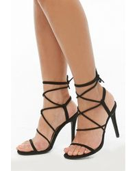 d5fad56485d Forever 21 - Women s Faux Suede Lace-up Heel Sandal - Lyst