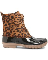 Forever 21 - Yoki Leopard Print Duck Boots - Lyst