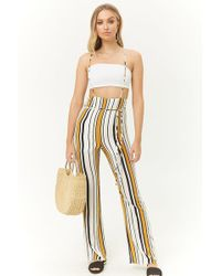 4cf1de5c7ccf4d Forever 21 - High-rise Striped Suspender Pants , Ivory/yellow - Lyst