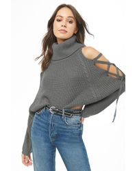 73d9a4e862eb3 Lyst - Forever 21 Ribbed Turtleneck Cropped Sweater in Black
