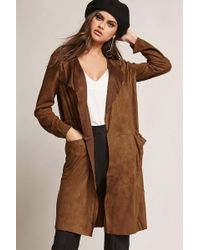 Forever 21 - Longline Faux Suede Cardigan - Lyst