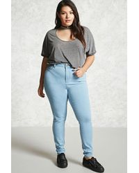 291bc048b1c Forever 21 - Women s Plus Size Mid-rise Skinny Jeans - Lyst