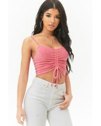 96f8e2c04a6acd Forever 21 - Ruched French Terry Crop Cami - Lyst
