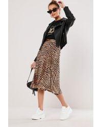 Missguided - Zebra Print Skirt At , Bronze/black - Lyst