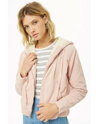 Forever 21 - Women's Hooded Faux Shearling-lined Corduroy Jacket - Lyst