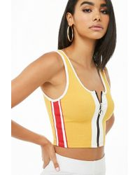 Forever 21 - Women's Zip-front Striped Tank Top - Lyst