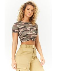 Forever 21 - Knot-front Camo Print Tee - Lyst
