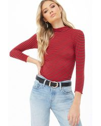 fbaff5b7bfcc7 Lyst - Forever 21 Contrast Lettuce-edge Top in Red
