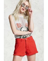Forever 21 - Button-front Denim Shorts - Lyst