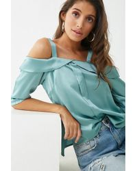 aee85ee445c5e4 Lyst - Forever 21 Striped Foldover One-shoulder Top in Pink