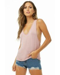 c84b64e8f881f Lyst - Forever 21 High Neckline Tank Top in Red