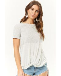 Forever 21 - Contrast Striped Twist-front Top - Lyst