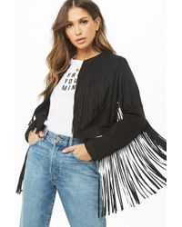 Forever 21 - Faux Suede Fringe Cropped Jacket - Lyst