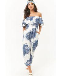 Forever 21 - Palm Leaf Print Off-the-shoulder Jumpsuit - Lyst