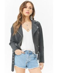 Forever 21 - Faux Suede Moto Jacket - Lyst