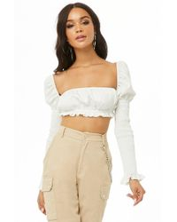 Forever 21 - Smocked-sleeve Crop Top - Lyst