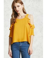 Forever 21 - Ruffle Trim Open-shoulder Top - Lyst
