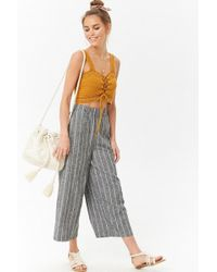 Forever 21 - Linen-blend Pinstriped Culottes - Lyst