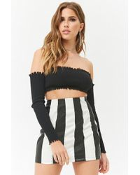 Forever 21 - Striped Faux Leather Skirt - Lyst