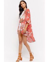 Forever 21 - Sheer Floral Trumpet-sleeve Kimono - Lyst