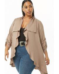 c3321e4b24e Forever 21 - Women s Plus Size Ruffled Duster Jacket - Lyst