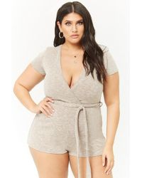 ee4668484db9 Forever 21 - Women s Plus Size Marled Ribbed Surplice Playsuit - Lyst