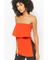 Forever 21 - Vented Flounce Tube Top - Lyst