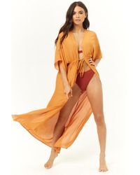 Forever 21 - Longline Swim Cover-up Kimono - Lyst