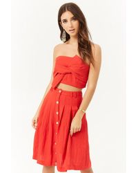 Forever 21 - London Rose Pleated Button-front Skirt - Lyst