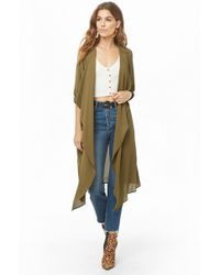 Forever 21 - Crepe Draped-front Duster Coat - Lyst