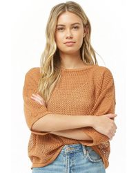 Forever 21 - Open-knit Dolman Sweater , Amber - Lyst