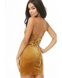 Forever 21 - Velvet Lace-up Mini Dress - Lyst