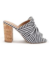 9e62c7c721824 Lyst - Missguided Black Striped Detail Block Heeled Sandals in Black